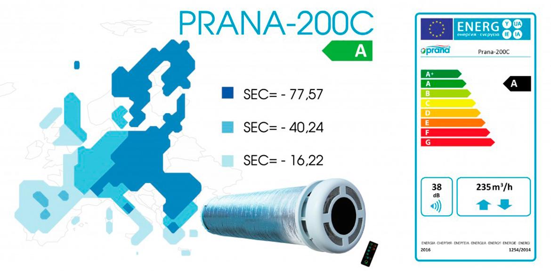 Рекуператор Prana 200C енергоефективність